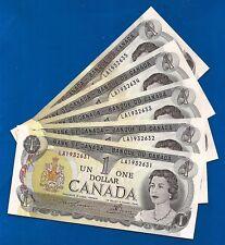 FIVE CANADA 1973 CONSECUTIVE LA ONE DOLLAR NOTES BILLS CRISP UNC