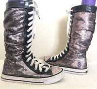 Girls Skechers Twinkle Toes High Purple/Gray Size 5