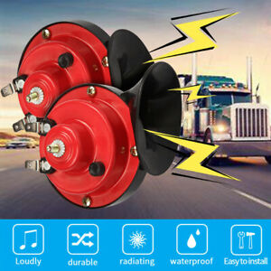 2pcs 300DB Super Snail Air Train Horn For Truck Car Boat Motorcycle 12V Electric