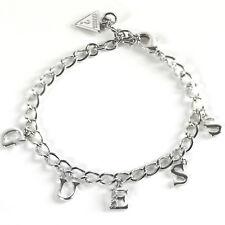 GUESS Armband Armkette Damen Schmuck ICONIC CHARME Messing Silber Zirkonia  NEU b4d3b8423f