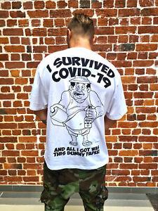 COVID CORONA SURVIVOR WHITE FUNNY T-SHIRT + FREE POUCH!