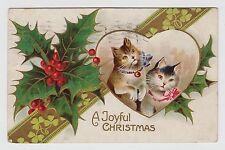 POSTCARD - artist drawn cats kittens (Sophie Sperlich?), xmas greeting embossed