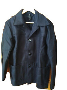 "Vintage Retro British black wool Donkey jacket 38"" - Brand New"
