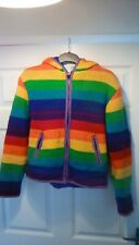 Knitted Rainbow Fleece Lined hippy/festival Jacket 1214