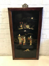 Antique Chinese Stone Inlaid Wood Panel 3 Women Musical Instrument Decoration