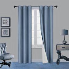 SOLID GROMMET PANEL WINDOW CURTAIN DARKENING FOAM LINED BLACKOUT 1PC SLATE BLUE