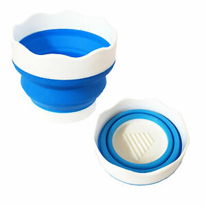 Pop Up Collapsible Soft Plastic Water Pot Paint Brush Washer Cup 9.5 cm