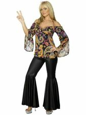 Smiffys Hippie Costume 60s 70s Disco Flare Pants Adult Womens 30442