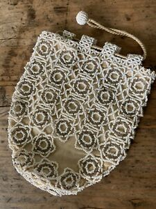 Vintage 20's 30s Czech Glass Micro Beaded Drawstring Evening Bag Purse