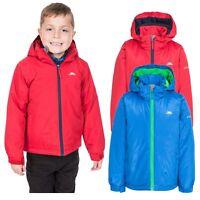 Trespass Rudi Boys Waterproof Jacket Raincoat with Hood Blue Red