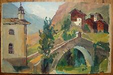 Ancienne Huile Papier Paysage SUISSE Montagne Pont ZERMATT Tableau Pochade