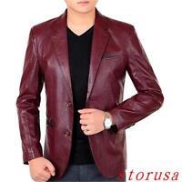 Men Dress Suit Leather Blazer Slim Business Jacket 2 Button Coat Overcoat Hot Sz