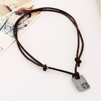Fashion Men Vintage Faux Leather Pendant Adjustable Chain Necklace Jewelry Gi w/