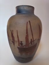"Antique French Cameo Vase Signed Demoy, Scenic Country Nautical, 5.25"" Tall"