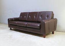 1960's Danish mid century leather 3 seat sofa