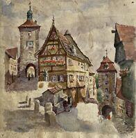 Altes Aquarell Rothenburg ob der Tauber Plönlein Sieberstor Kobolzeller Tor