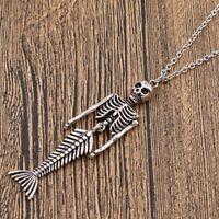 "Halloween Skeleton & Skull Mermaid Bones Charm Tibetan Silver 18"" Necklace"