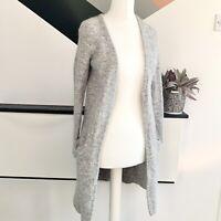 MINT VELVET Grey Wool long cardigan Size S  | Smart Casual Warm alpaca