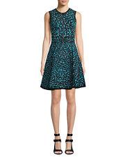 MICHAEL KORS  black, turquoise leopard print zip-front fit & flare dress sz L