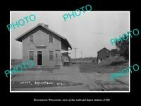 OLD POSTCARD SIZE PHOTO OF BROWNTOWN WISCONSIN THE RAILROAD DEPOT STATION c1920