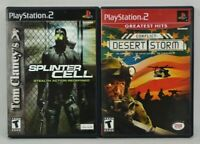 Lot of 2 PS2 Games Splinter Cell Stealth Action Redefined Conflict: Desert Storm