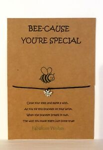 BEE-cause You're Special Wish Bracelet Gift! Cute Tibetan Silver 'BEE' Charm!