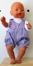 Overall & T Shirt set suitable Baby Born - Doll  Mauve  Gingham