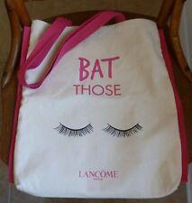 LANCOME Bat Those Lashes CANVAS TOTE; Beach, Shopper; Natural & Fuchsia Pink