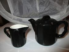 Vintage Syracuse China Individual Black Paneled Tea Pot w/ Lid and Creamer