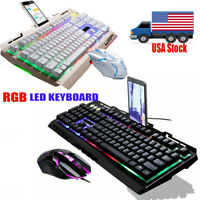 Computer Gaming Keyboard RGB LED Mouse Backlit Mechanical Feeling For PS4 PS5 PC
