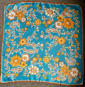Blue Orange White Brown 1960's /1970's Abstract Floral Semi Sheer Vintage Scarf