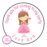 Personalised Pink Princess Girl Birthday Thank You Party Stickers Sweet Cones