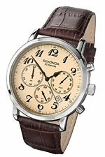 Sekonda Men's Analogue Beige Dial & Brown Leather Strap Chronograph Watch 3462