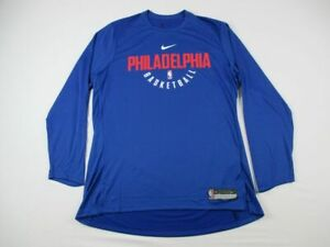 Philadelphia 76ers Nike Long Sleeve Shirt Men's Blue Dri-Fit NEW Multiple Sizes