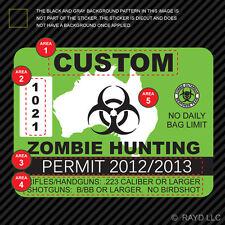 3x Custom Zombie Hunting Permit Sticker Die Cut Decal Outbreak Response Team
