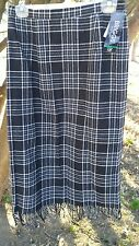 NWT Brigg Petite Wool Blend Plaid Skirt Fringe Size 12P Partial Lined BlackGray