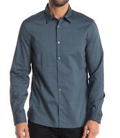 John Varvatos Star USA Men's Long Sleeve Picking Stripe Button Shirt Blue Topaz