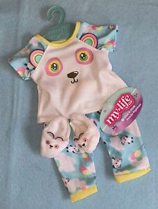 """My Life As Blue Pink Panda Pajamas with Slippers Clothing Set for 18"""" Dolls NEW"""