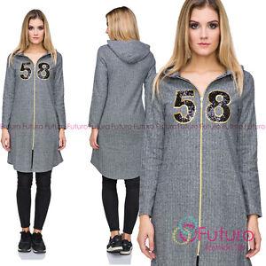 Ladies Casual Longline Zipper Hoodie Hooded Sweatshirt Tunic Jacket Coat FZ96