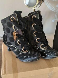 Joe Browns NEW Loki black velvet gold glitter polka dot lace up heel ankle boots