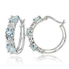 Sterling Silver Round Blue Topaz and Diamond Accent Hoop Earrings