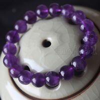Handmade 10mm Natural Amethyst Round Gemstone Beads Stretchy Bracelet Bangle