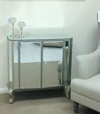 Venetian Champagne Silver Mirrored Glass 2 Door Cupboard Sideboard Cabinet