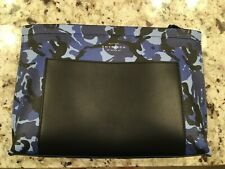 Smythson Panama Travel Pouch Leather  camo blue New Dopp kit toiletry bag