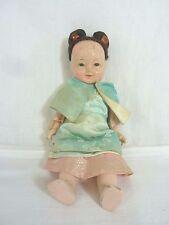 Vintage Oriental souvenir poupée en soie vêtements avec de vrais cheveux # wo #