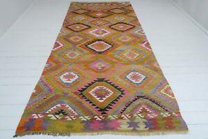 "Vintage Antalya Kilim Multi Color Wool Handmade Floor Rugs 61""x131,4"" Carpet"