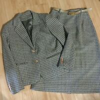 VTG Boston Traveler Plaid Tartan Wool Blend Skirt Jacket Suit Classic EUC Size 8