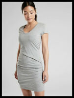 Athleta NWT Women's Central Stripe Dress Size Small / Light Grey Heather Stripe