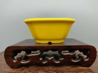 Yellow Glazed Square Chinese Flower Pots Desktop Landscaping Garden Decoration