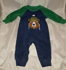 Carter's 3 Month Baby Boy One Piece Outfit Romper Bear in Hat Navy & Green Cozy